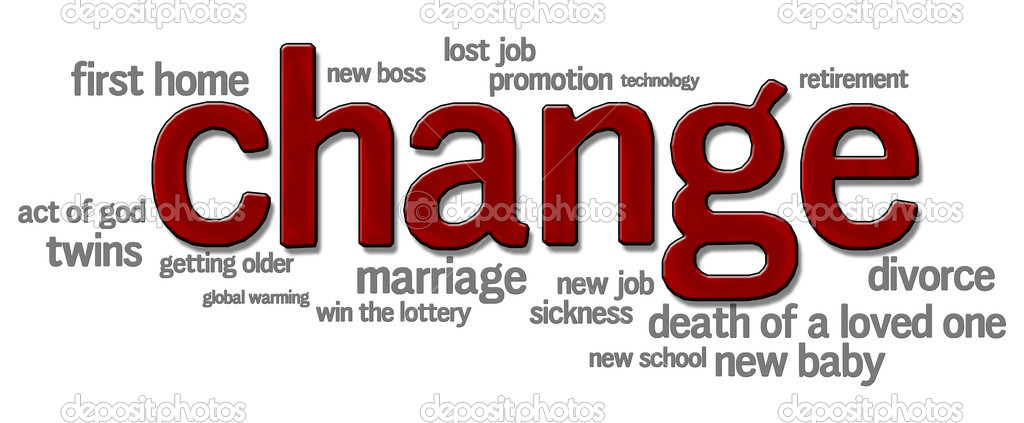 Word cloud with change in bold red letters surrounded by words relating to life changes — Stock Photo #5612414