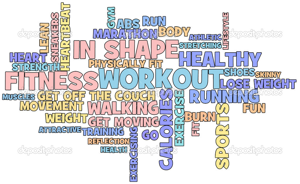 Fitness themed word cloud isolated on white background — Stock Photo #5612478