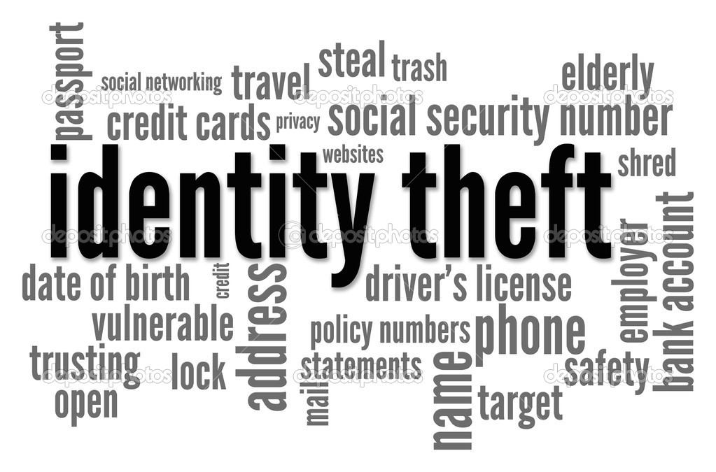 The words Identity Theft is surrounded by related words in this word cloud on white background — Stock Photo #5612494