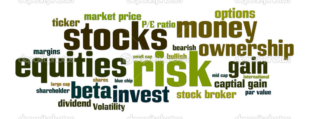 Word cloud with stock, equity, risk related words — Stock Photo #5612540