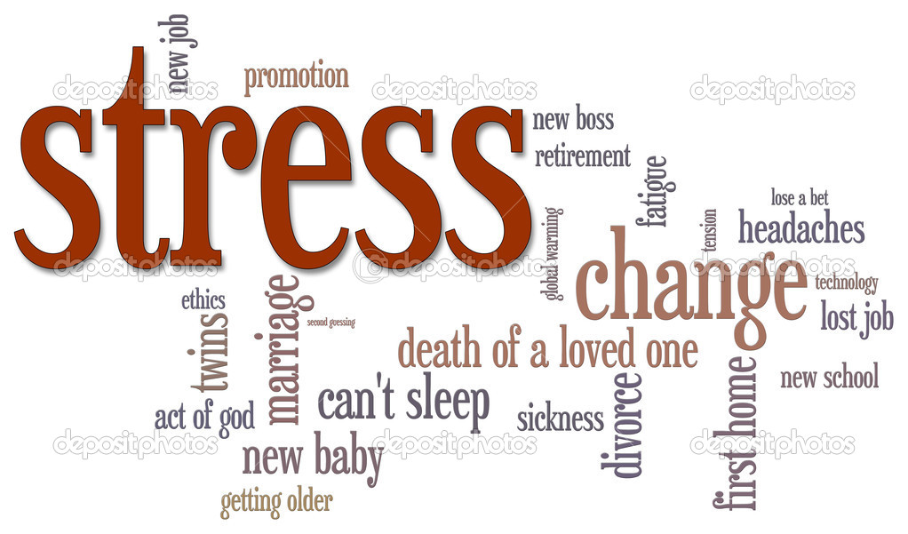 Stress themed word cloud on white background  Stock Photo #5612543