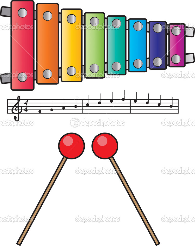 Colorful xylophone isolated on white with music and mallets  Stock Photo #5612565