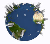 Earth with cities — Stock Photo