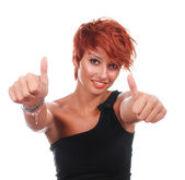 Beautiful happy woman with thumbs up — Stock Photo