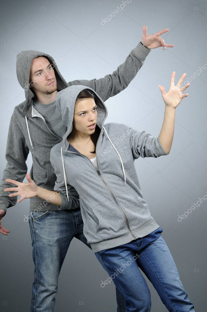 White attractive girl exercising dance with her partner — Stock Photo #5542706
