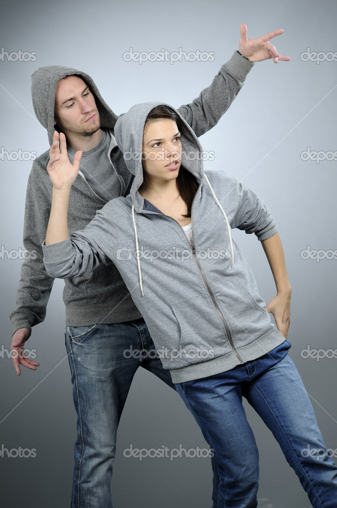 White attractive girl exercising dance with her partner  Stock Photo #5542739