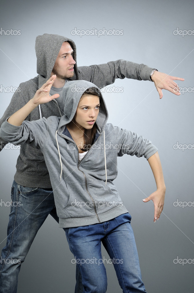 White attractive girl exercising dance with her partner — Stock Photo #5542759
