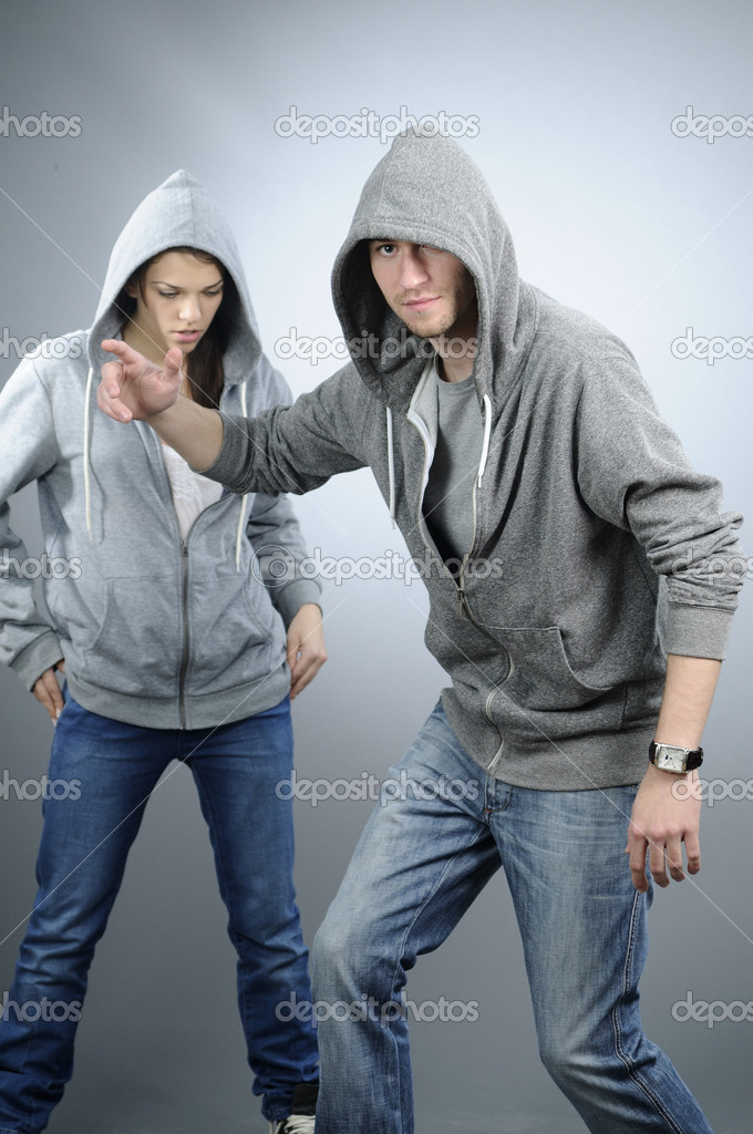 White attractive girl exercising dance with her partner — Stock Photo #5542766