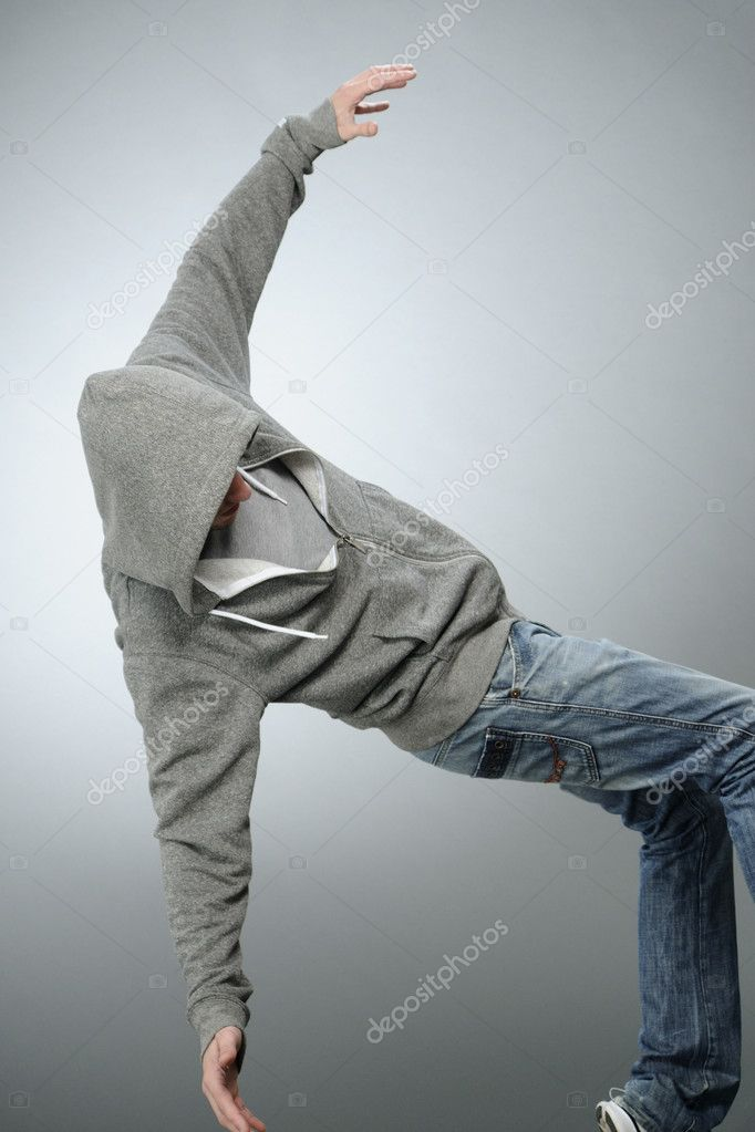 Pretty white male practicing dance movements in studio — Stock Photo #5542873