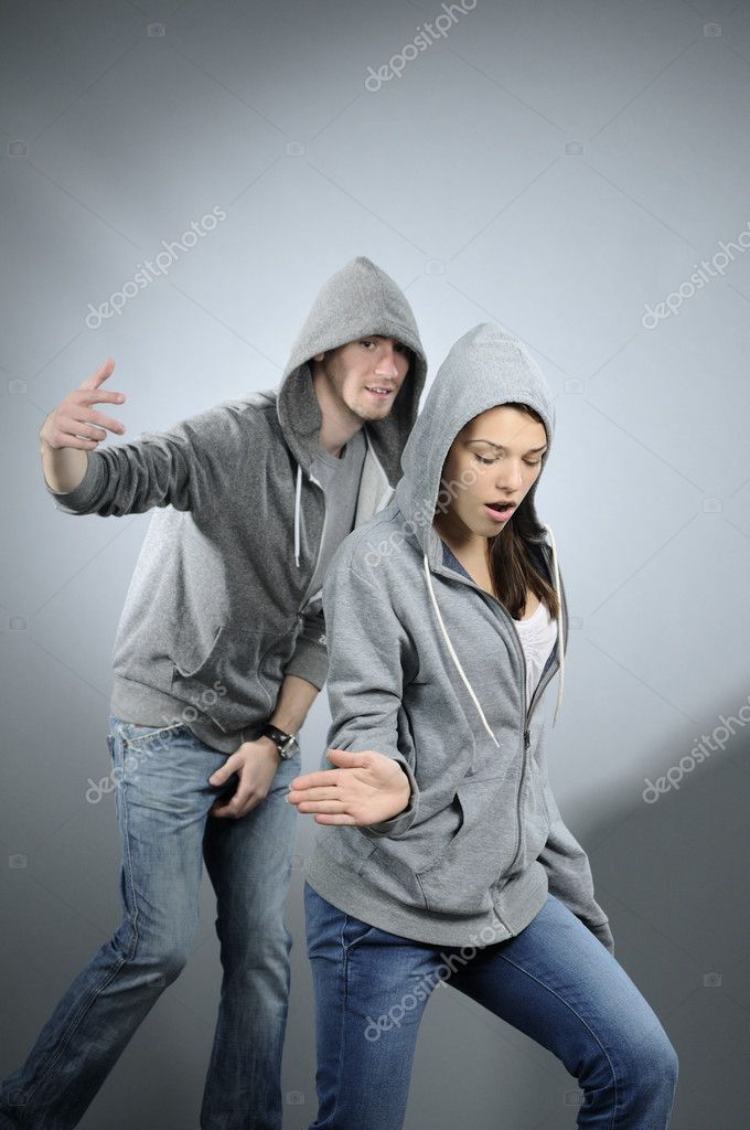 White attractive girl exercising dance with her partner — Stock Photo #5542883