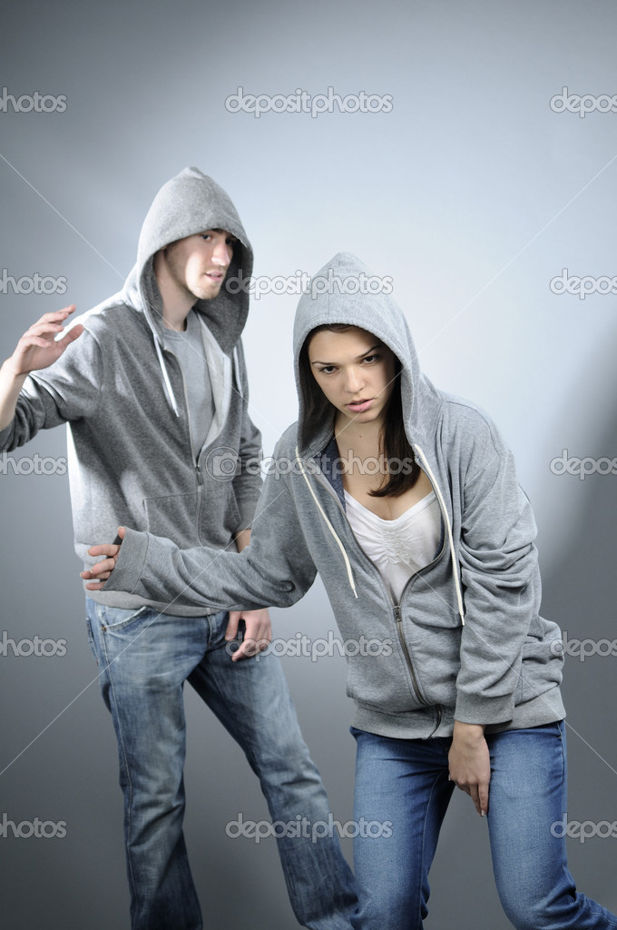 White attractive girl exercising dance with her partner — Stock Photo #5542998