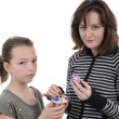 Girls painting easter eggs — Stock Photo