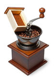 Coffee grinder with beans and ground coffee — Stock Photo