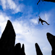 Team of climbers in danger. — Stock Photo