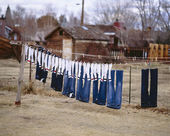 Clothesline and drying clothes. — Stock Photo