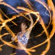 Fire spinning, hoop dancer, performing. - Stockfoto