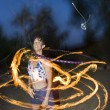 Fire spinning, hoop dancer, performing. - Stock Photo