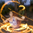 Fire spinning, hoop dancer, performing. — Stock Photo