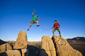 Team of climbers on the summit. — Stock Photo