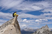 Hiker on the summit. — Stock Photo