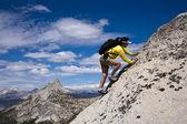 Rock climber on the summit. — Stock Photo