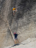 Team of rock climbers. — Stock Photo