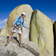Climber rappelling. — Stock Photo