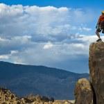 Rock climber nearing the summit. — Stock Photo #5900622