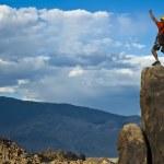Rock climber nearing the summit. — Stock Photo #5900630