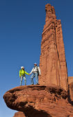 Hikers on the summit. — Stock Photo