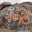 Graffiti covered boulder. - Stock Photo