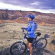 Female mountain biker. — Stock Photo