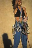 Kadın dağcı. — Stok fotoğraf
