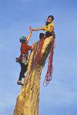 Team of rock climbers reaching the summit. — Stock Photo