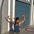 Woman practices with her hula hoop. — ストック写真