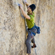 Stock Photo: Male rock climber.