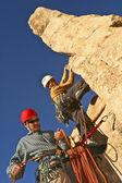 Team van bergbeklimmers. — Stockfoto