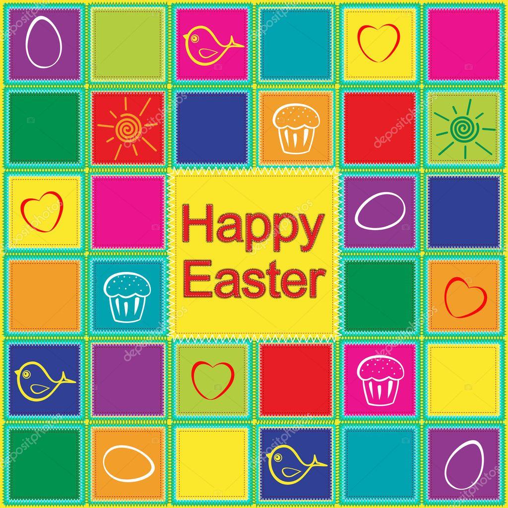 Easter patchwork pattern - Stock Illustration