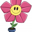 Pink cartoon flower smile — Stock Photo