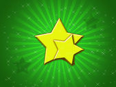 Yellow stars and green background — Stock Photo