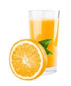 Glass of orange juice and orange half with leaves — Stock Photo