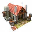 Cartoon blacksmith building — Stock Photo
