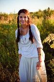 Smiling hippie girl — Stock Photo