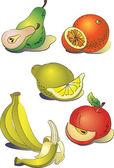 A set of clip-art fruit — Stok Vektör