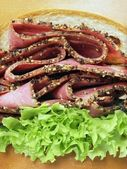 Beef pastrami sandwich — Stock Photo