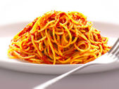 Spaghetti nudlar i tomatsås — Stockfoto