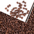 Coffee beans with white paper — Stock Photo