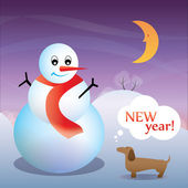 New Year Card with a dog and a snowman — Stock Vector