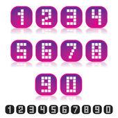 Pixel Numbers — Stock Vector