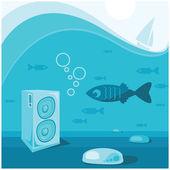 Underwater music — Stock Vector